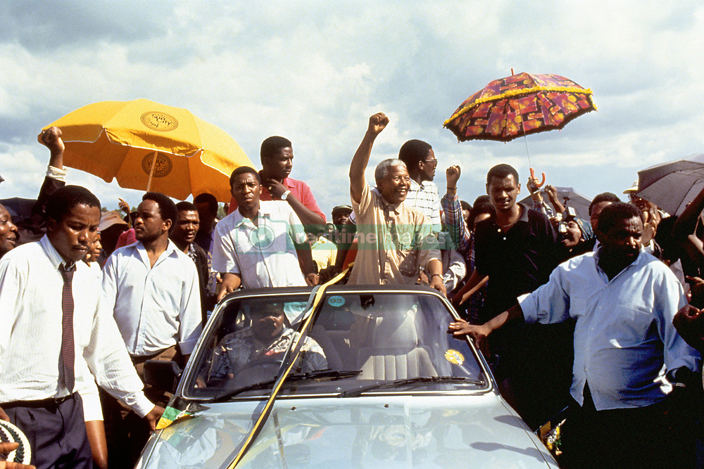 President of the African National Congress (ANC) Nelson Mandela, centre, during an election rally in the Eastern Transvaal town of Ermelo.