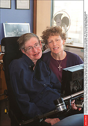 Liibrary picture taken in October 2001 of Professor Stephen Hawking and his wife Elaine Mason at his office in Cambridge, UK. Police investigating alleged assaults on disabled scientist Stephen Hawking said on Monday March 29, 2004 there was no evidence to substantiate the claims. Photo by Ammar Abd Rabbo/ABACA