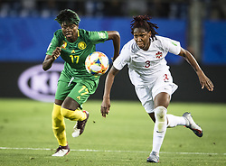 6?10?????????????Kadeisha Buchanan () of Canada??????????????????Gaelle Enganamouit () of Cameroon???..???????????????2019?6?11?.    ?????????——E??????????????.    ?????????????2019??????????E???????????1?0??????.    ?????????..(SP)FRANCE-RENNES-2019 FIFA WOMEN'S WORLD CUP-GROUP E-CANADA VS CAMEROON..(190611) -- MONTPELLIER, June 11, 2019  the group E match between Canada and Cameroon at the 2019 FIFA Women's World Cup in Montpellier, France on June 10, 2019. Canada won 1-0. (Credit Image: © Xinhua via ZUMA Wire)