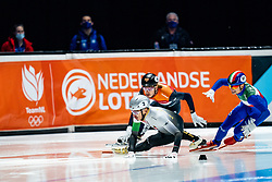 Shaolin Sandor Liu of Hungary, Dylan Hoogerwerf of Netherlands, Pietro Sighel of Italy in action on 1500 meter during ISU World Short Track speed skating Championships on March 06, 2021 in Dordrecht