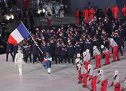 PYEONGCHANG-GUN, SOUTH KOREA - FEBRUARY 09: Flag bearer of France Martin Fourcade leads the team during the Opening Ceremony of the PyeongChang 2018 Winter Olympic Games at PyeongChang Olympic Stadium on February 9, 2018 in Pyeongchang-gun, South Korea. Photo by Kim Jong-man / Sportida
