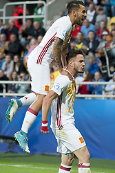 June 20, 2017 - Gdynia, Poland - Saul Niguez and Dani Ceballos of Spain celebrate first goal for Spain during the UEFA European Under-21 Championship 2017  Group B match between Portugal and Spain at Gdynia Stadium in Gdynia, Poland on June 20, 2017  (Credit Image: © Andrew Surma/NurPhoto via ZUMA Press)