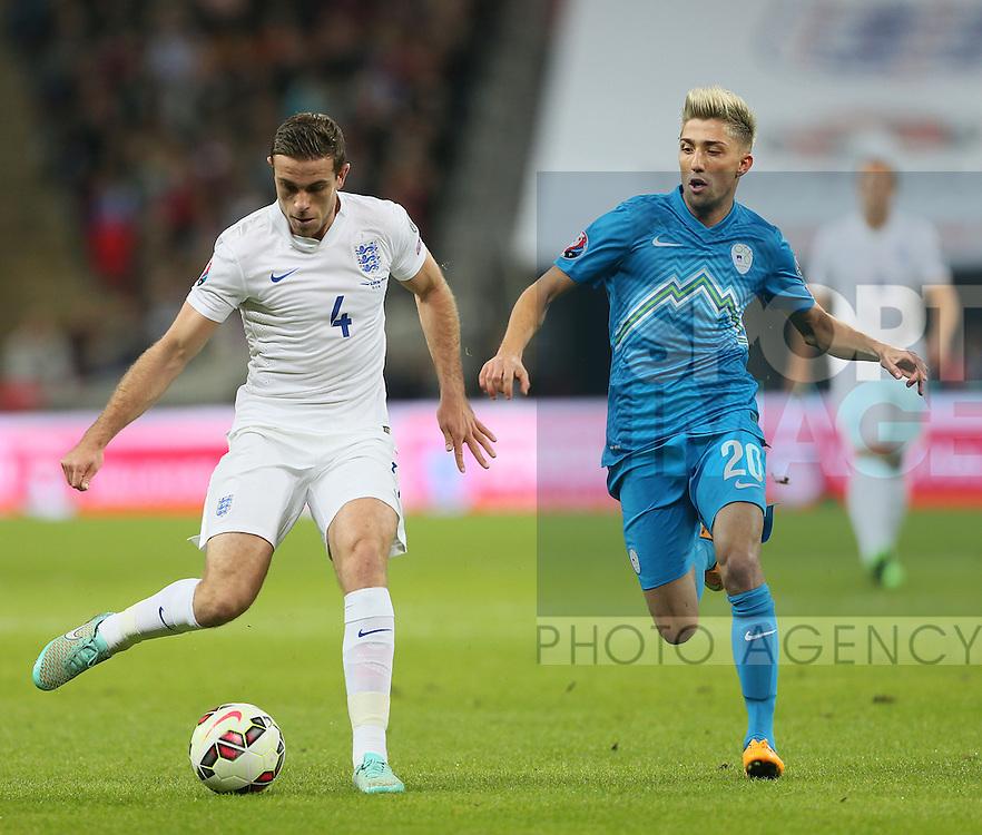 England's Jordan Henderson in action<br /> <br /> - International European Qualifier - England vs Slovenia- Wembley Stadium - London - England - 15th November 2014  - Picture David Klein/Sportimage