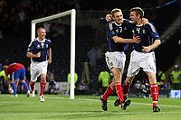 Fotball<br /> Skottland<br /> Foto: Colorsport/Digitalsport<br /> NORWAY ONLY<br /> <br /> Football - UEFA Euro 2012 Qualifier - Scotland v Liechtenstein<br /> Stephen McManus celebrates his 97th minute goal with Darren Fletcher during the Scotland v Liechtenstein UEFA Euro 2012 Qualifier, Hampden Park