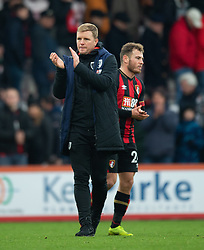 AFC Bournemouth Manager Eddie Howe applauds the fans at the end of the game