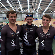 New Zealand's Elite Team Sprint team, Simon Van Vel Thooven (left), Sam Webster, (centre) and Ethan Mitchell, (right) during the 2012 Oceania WHK Track Cycling Championships, Invercargill, New Zealand. 21st November 2011. Photo Tim Clayton...