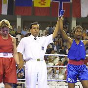 2. WOMEN'S WORLD BOXING CHAMPIONSHIPS.<br /> Denmark's Tina Hansen  semi final  lose. Tina Hansen (L)  between USA's Brown Natalie (R) . Dilek Sabanci Sport Hall Antalya/Turkey<br /> Photo by Aykut AKICI/TurkSporFoto