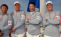 The Yanmar Racing team lead by Peter Gilmour wearing 'Power for Japan' armbands in support of the Japanese people effected by the earthquake.. Photo:Chris Davies/WMRT