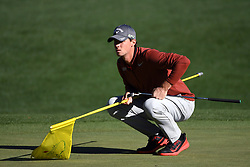 Thomas Pieters holds onto the pin as he lines up a putt on the 16th green during the second round of the Masters Tournament at Augusta National Golf Club in Augusta, Ga., on Friday, April 7, 2017. (Photo by Jeff Siner/Charlotte Observer/TNS)  *** Please Use Credit from Credit Field ***