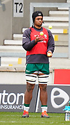 London Irish's Chunya Munga juggles as part of his warm up before a Gallagher Premiership Round 14 Rugby Union match, Sunday, Mar 21, 2021, in Eccles, United Kingdom. (Steve Flynn/Image of Sport)