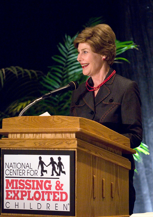 Austin, Texas April 4, 2007: First Lady Laura Bush speaks at a fund-raiser for a new regional office of the National Center for Missing & Exploited Children established in Austin.        ©Bob Daemmrich/
