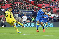 Michel Vorm of Tottenham Hotspur (13) clearing from AFC Wimbledon striker Lyle Taylor (33) during the The FA Cup 3rd round match between Tottenham Hotspur and AFC Wimbledon at Wembley Stadium, London, England on 7 January 2018. Photo by Matthew Redman.