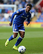 Kadeem Harris of Cardiff city in action.EFL Skybet championship match, Cardiff city v Nottingham Forest at the Cardiff City Stadium in Cardiff, South Wales on Easter Monday 17th April 2017.<br /> pic by Andrew Orchard, Andrew Orchard sports photography.