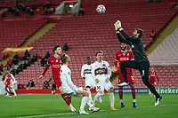 Football - 2020 / 2021 Champions League - Group D - Liverpool vs FC Midtjylland - Anfield<br /> <br /> Liverpool's Alisson Becker jumps to collect the ball<br /> <br /> COLORSPORT/TERRY DONNELLY