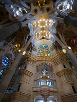 BARCELONA, SPAIN - CIRCA MAY 2018: Interior of La Sagrada Familia, a famous Cathedral in Barcelona designed by Antoni Gaudi. View of the interior columns.