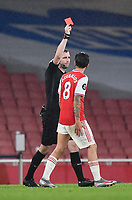 Football - 2019 / 2020 Premier League - Arsenal vs. Leicester City<br /> <br /> Arsenal's Eddie Nketiah (out of shot) is shown a red card by Referee Chris Kavanagh, at the Emirates Stadium.<br /> <br /> COLORSPORT/ASHLEY WESTERN
