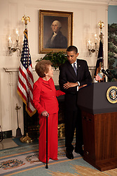 Former First Lady Nancy Reagan stands alongside President Barack Obama at the podium as he announces and signs the Ronald Reagan Centennial Commission Act in the Diplomatic Room of the White House, June 2, 2009. (Official White House Photo by Pete Souza), This official White House photograph is being made available for publication by news organizations and, or for personal use printing by the subject(s) of the photograph. The photograph may not be manipulated in any way or used in materials, advertisements, products, or promotions that in any way suggest approval or endorsement of the President, the First Family, or the White House.Ê. EXPA Pictures © 2016, PhotoCredit: EXPA/ Photoshot/ Pete Souza<br /> <br /> *****ATTENTION - for AUT, SLO, CRO, SRB, BIH, MAZ, SUI only*****