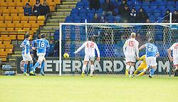 St Johnstone's Danny Swanson scoring their first goal. St Johnstone 2 v 4 Ross County. SPFL Ladbrokes Premiership game played 19/11/2016 at St Johnstone's home ground, McDiarmid Park.