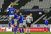 Matthew Clarke of Derby County (16)  heads the ball during the EFL Sky Bet Championship match between Derby County and Cardiff City at the Pride Park, Derby, England on 28 October 2020.