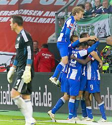 29.10.2011,Volkswagen Arena, Wolfsburg, GER, 1.FBL, VFL Wolfsburg vs Hertha BSC Berlin, im Bild .. Jubel bei Hertha Spieler nach dem Siegtor -li.VfL TW Benaglio. ....// during the match from GER, 1.FBL,VFL Wolfsburg vs Hertha BSC Berlin  on 2011/10/29, Volkswagen Arena, Wolfsburg, Germany..EXPA Pictures © 2011, PhotoCredit: EXPA/ nph/  Rust       ****** out of GER / CRO  / BEL ******