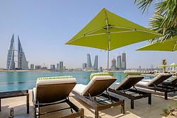 View of Bahrain skyline  from new Four Seasons Bahrain Bay luxury Hotel in Bahrain