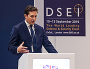 London, United Kingdom - 12 September 2019<br /> Johnny Mercer MP, Parliamentary Under-Secretary of State for Defence People and Veterans for the UK Government gives a keynote address speech and answers questions from the audience at DSEI 2019 security, defence and arms fair at ExCeL London exhibition centre.<br /> (photo by: EQUINOXFEATURES.COM)<br /> Picture Data:<br /> Photographer: Equinox Features<br /> Copyright: ©2019 Equinox Licensing Ltd. +443700 780000<br /> Contact: Equinox Features<br /> Date Taken: 20190912<br /> Time Taken: 10171823<br /> www.newspics.com