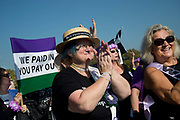 Women born in the 1950s held a Day of Action to draw attention to the women affected by the rise of the state pension age, from 60 to 66, organised by different groups including WASPI Women Against State Pension Inequality Campaign, BackTo60, and We Paid In You Pay Out on October 10th 2018 in London, United Kingdom. Women applaud.