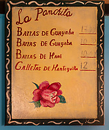 Prices are posted at La Panchita, the factory that makes Guyaba bars. (Florida, Camagüay Province, Cuba).