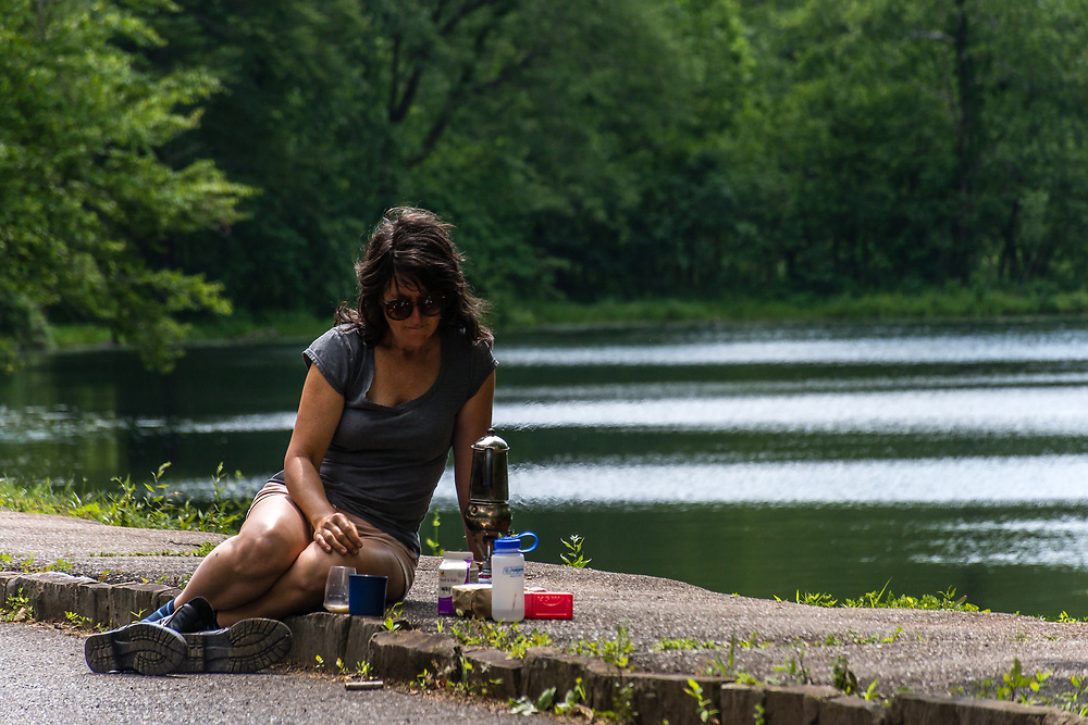 Morning coffe on the road in the Blue Ridge Parkway