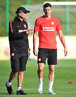 ARLAMOW, POLAND - MAY 31: Adam Nawalka, Manager of Poland and Robert Lewandowski during a training session of the Polish national team at Arlamow Hotel during the second phase of preparation for the 2018 FIFA World Cup Russia on May 31, 2018 in Arlamow, Poland. (MB Media)