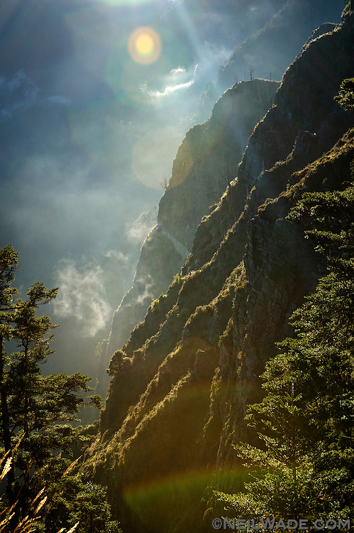 The afternoon sun highlights some cliff ridges on the hike to Snow Mountain, Taiwan.