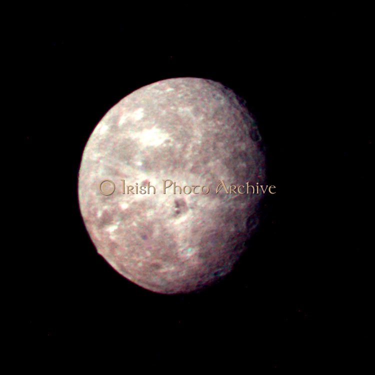 Voyager 2 picture of Oberon, Uranus' outermost moon.