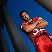 Eric Weddle U of U defensive back and linebacker portrait shoot on the U of U campus Presidents Circle in Salt Lake City, Utah  Tuesday July 25, 2006.  (August Miller)