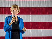 03 MAY 2019 - AMES, IOWA: Sen. ELIZABETH WARREN (D-MA) used a cellphone to talk about her plan to reduce student debt during her campaign appearance at Iowa State University in Ames. About 400 people attended the event. Sen. Warren is campaigning in Iowa Friday and Saturday to promote her bid to be the Democratic candidate for the US Presidency. Iowa traditionally hosts the the first selection event of the presidential election cycle. The Iowa Caucuses will be on Feb. 3, 2020              PHOTO BY JACK KURTZ