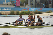 Eton Dorney, Windsor, Great Britain,<br /> <br /> 2012 London Olympic Regatta, Dorney Lake. Eton Rowing Centre, Berkshire.  Dorney Lake.   <br /> <br /> Final, Men's Pair GBR M2- Bow George NASH and Will SATCH and NZL M2-, Bow Eric MURRAY and Hamish BOND<br /> <br />  11:57:06  {DOW]  {DATE}    [Mandatory Credit: Peter Spurrier/Intersport Images]