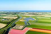 Nederland, Noord-Holland, Gemeente Medemblik, 07-05-2018; <br /> Waterberging Twisk, gebied gereserveerd voor opvang van water bij hevige regenval. Gelegen naast Westfriesedijk (Westfriese Omringdijk), gezien naar Opperdoes en Medemblik.<br /> Water storage Twisk, North-Holland, area reserved for the collection of water during heavy rainfall.<br /> <br /> luchtfoto (toeslag op standard tarieven);<br /> aerial photo (additional fee required);<br /> copyright foto/photo Siebe Swart
