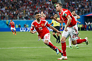 Russia Artem Dzyuba (R) celebrates his goal with Alexander Samedov during the 2018 FIFA World Cup Russia, Group A football match between Russia and Egypt on June 19, 2018 at Saint Petersburg Stadium in Saint Petersburg, Russia - Photo Stanley Gontha / Pro Shots / ProSportsImages / DPPI