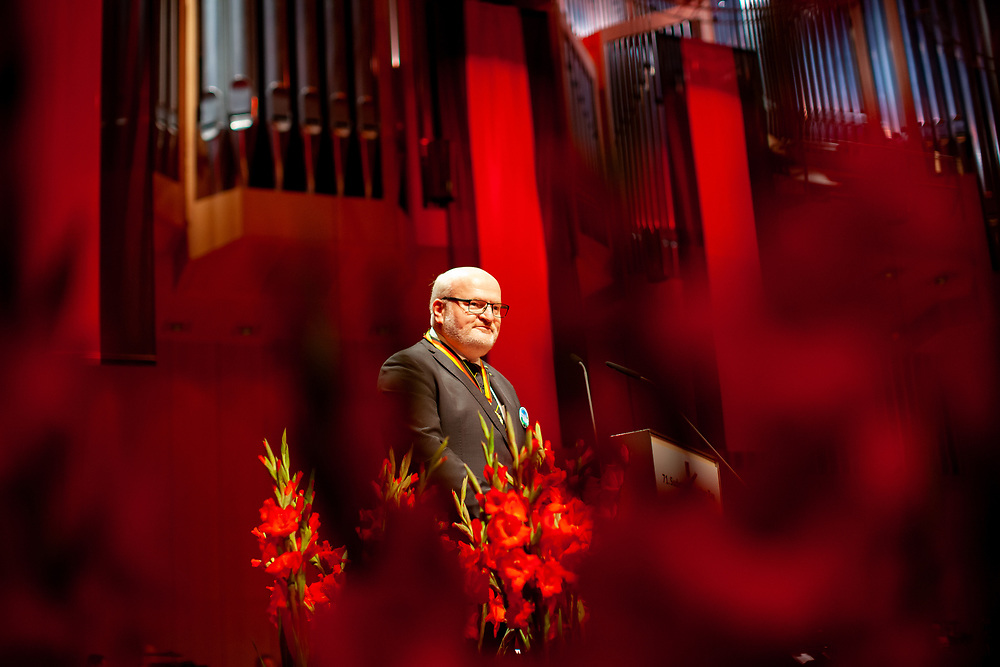 The former Czech culture minister, Daniel Herman, who was awarded the Charles IV Prize for fostering understanding among European nations speaking at the conference of the Sudeten German Landsmannschaft in Munich on Saturday.