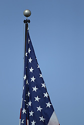 19 August 2017:   Hancock Stadium American Flag during 2017 Illinois State Redbirds Football Red-White Scrimmage at Hancock Stadium in Normal IL (Photo by Alan Look)