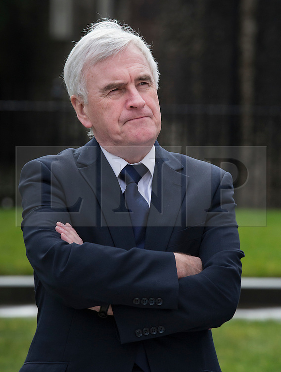 © Licensed to London News Pictures. 01/03/2016. London, UK. Labour Party Shadow Chancellor John McDonnell attends a PCS union demonstration highlighting the closure of HMRC tax offices in a protest near Parliament.   Photo credit: Peter Macdiarmid/LNP