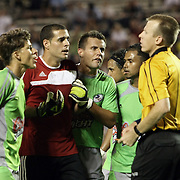 Puerto Rico United Goalkeeper Jose Miranda Boudy (14) gets ejected after receiving a red card during a United Soccer League Pro soccer match between Puerto Rico United and the Orlando City Lions at the Florida Citrus Bowl on April 22, 2011 in Orlando, Florida.  (AP Photo/Alex Menendez)