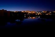 Nightfall over Lagoon Rooms in TIA Heights Resort, Makadi Bay, Egypt