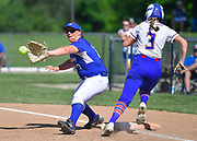 Nashville batter Jordan Donato (right) races the ball to first as Freeburg first baseman Nicole Edmiaston makes the catch for the out. Freeburg defeated Nashville in the Class 2A sectional softball title game at Nashville High School in Nashville, IL on Thursday June 10, 2021. Tim Vizer/Special to STLhighschoolsports.com.