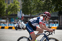 Joelle Numainville (CAN) of Cervélo-Bigla Cycling Team attacks on the uphill section of the loop during the La Course, a 89 km road race in Paris on July 24, 2016 in France.