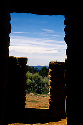 Doorway with a view from an ancient dwelling in Mesa Verde National Park