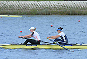 Reading. United Kingdom.  GBR W2-. Jessica EDDIE and Polly SWANN, in the opening strokes of the morning time trial. 2014 Senior GB Rowing Trails, Redgrave and Pinsent Rowing Lake. Caversham.<br /> <br /> 10:43:23  Saturday  19/04/2014<br /> <br />  [Mandatory Credit: Peter Spurrier/Intersport<br /> Images]