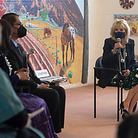 The First Lady of the United States Dr. Jill Biden visits Hunters Point Boarding School near St. Michaels, Arizona Friday, April 23.