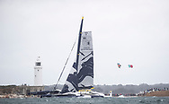 COWES, ENGLAND - 8 AUGUST 2021: The 49th edition of the biennial Rolex Fastnet Race starting from the Royal Yacht Squadron line in Cowes, UK on Sunday 8th August 2021, rounding the 'Fastnet Rock' in Southern Ireland and then finishing in Cherbourg-en-Cotentin. Pictures of the French Gitana Sailing Team 32 x 23m 'Ultim' trimaran 'Maxi Edmond de Rothschild' skippered by Franck Cammas / Charles Caudrelier)<br /> (Photo by Lloyd Images)