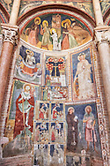 Frescoes on the interior of the Romanesque Baptistery of Parma, circa 1196, (Battistero di Parma), Italy .<br /> <br /> If you prefer you can also buy from our ALAMY PHOTO LIBRARY  Collection visit : https://www.alamy.com/portfolio/paul-williams-funkystock/romanesque-art-antiquities.html<br /> Type -     Parma    - into the LOWER SEARCH WITHIN GALLERY box. <br /> <br /> Visit our ROMANESQUE ART PHOTO COLLECTION for more   photos  to download or buy as prints https://funkystock.photoshelter.com/gallery-collection/Medieval-Romanesque-Art-Antiquities-Historic-Sites-Pictures-Images-of/C0000uYGQT94tY_Y
