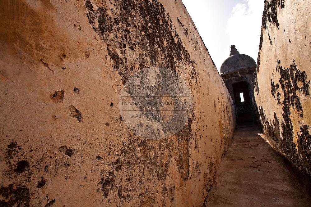 Parapet inside El Morro fortress Old San Juan, Puerto Rico.